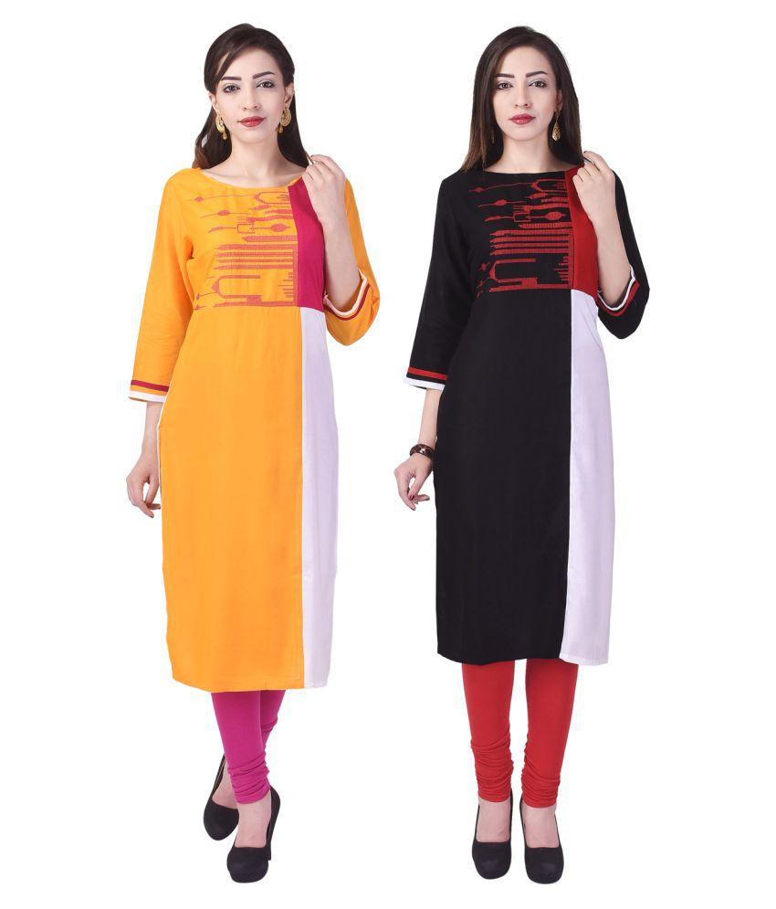 Fab Attire Multicoloured Cotton Straight Kurti