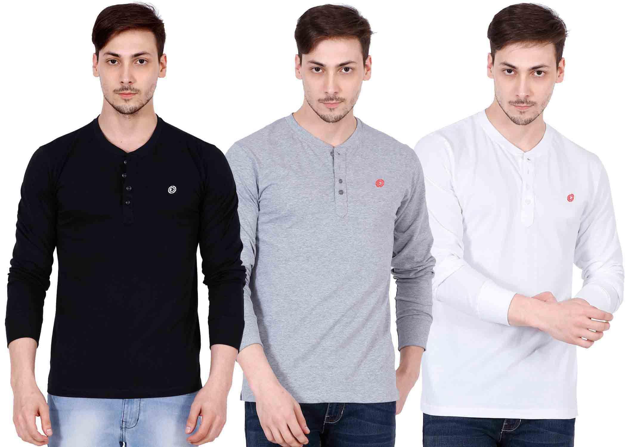 Ojass Multi Henley T-Shirt Pack of 3