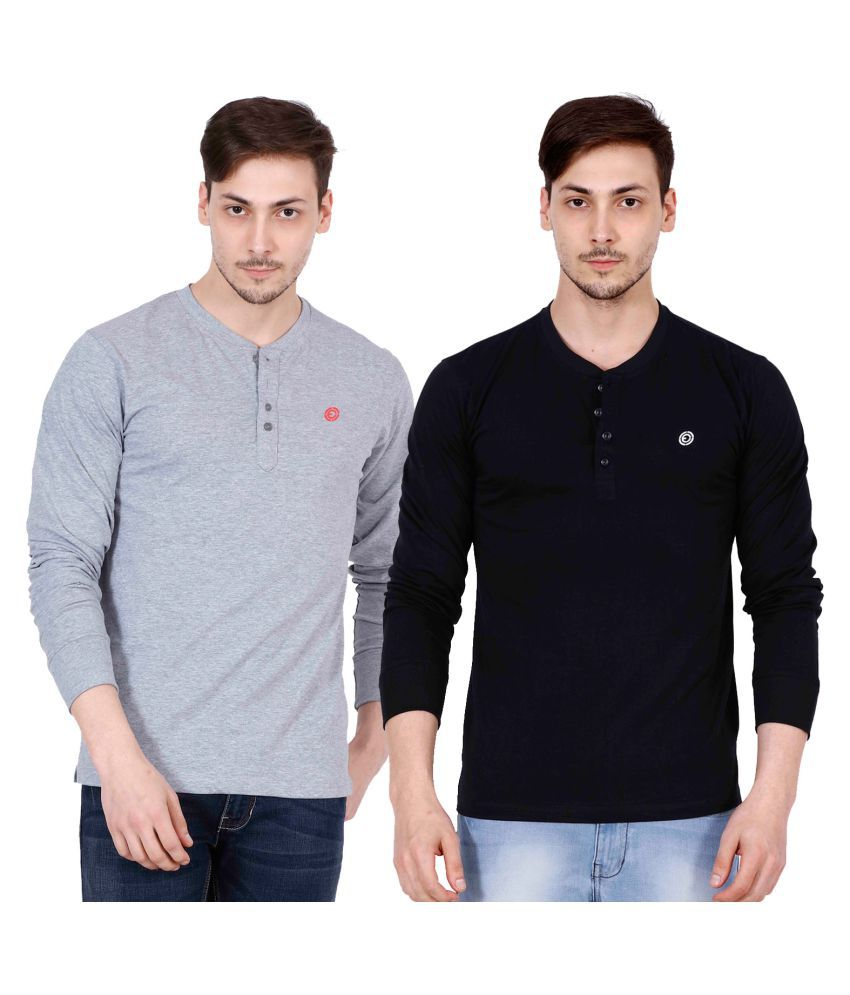 Ojass Multi Henley T-Shirt Pack of 2