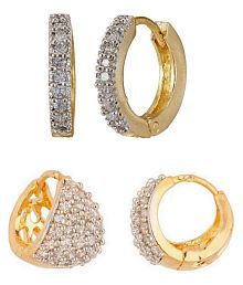 Penny Jewels Oxidized Diamond Non-Precious Classic (Combo of 2) Earrings Set For Women & Girls