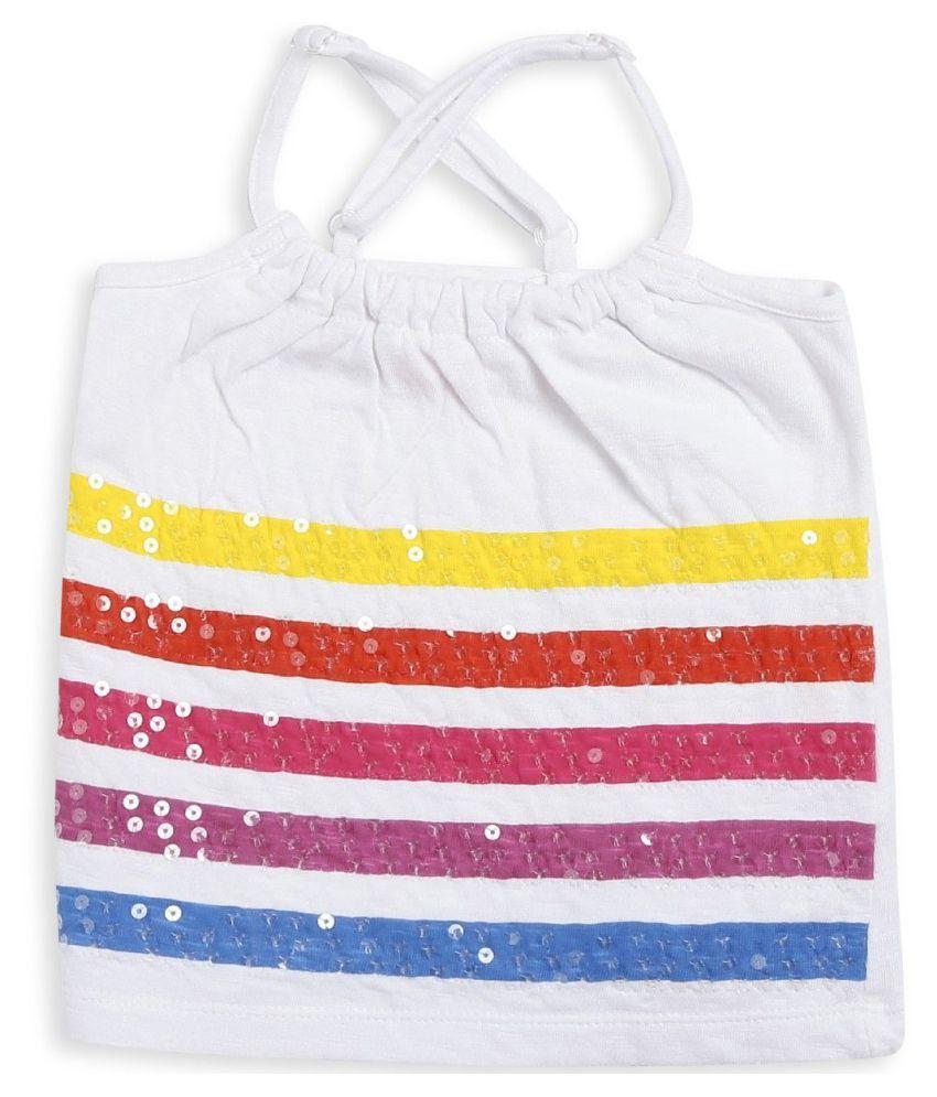 FS MiniKlub Girl's Knit Sleeveless Tee-White