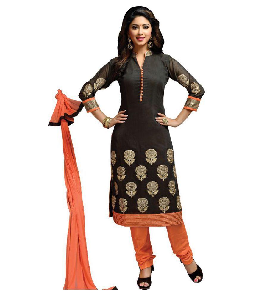 Kumaran Silks Black Raw Silk Straight Stitched Suit
