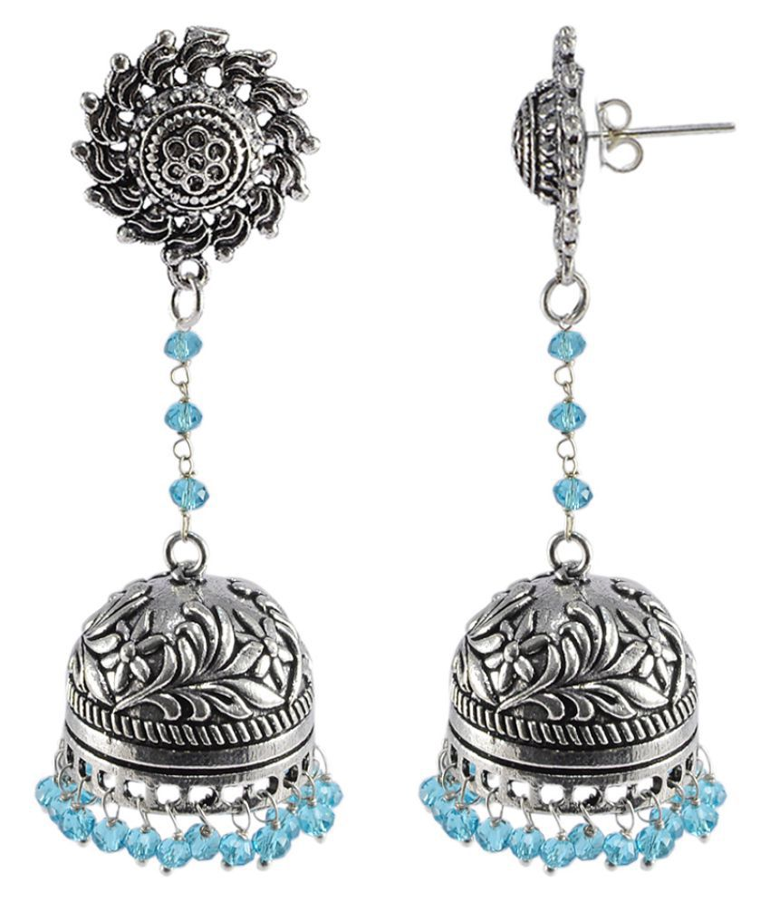 Silvesto India Blue Topaz Crystal Beads With Surya Studs Jhumka-Oxidized Jhumki Handcrafted Earrings PG-108847
