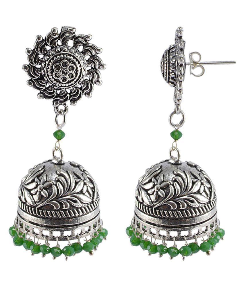Silvesto India Seductive 29.7 Grams Handmade Alloy Oxidized 3 mm Green Crystals And Surya Jhumki Jewellery PG-108884