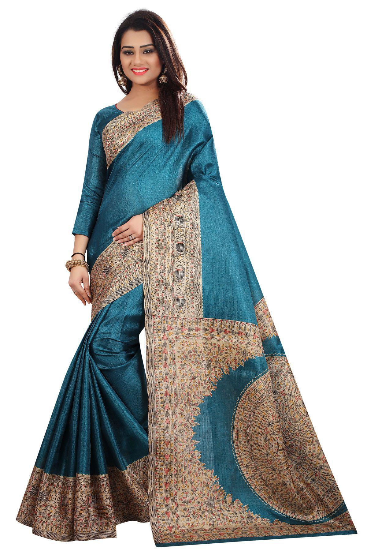 Samaya Turquoise Silk Saree