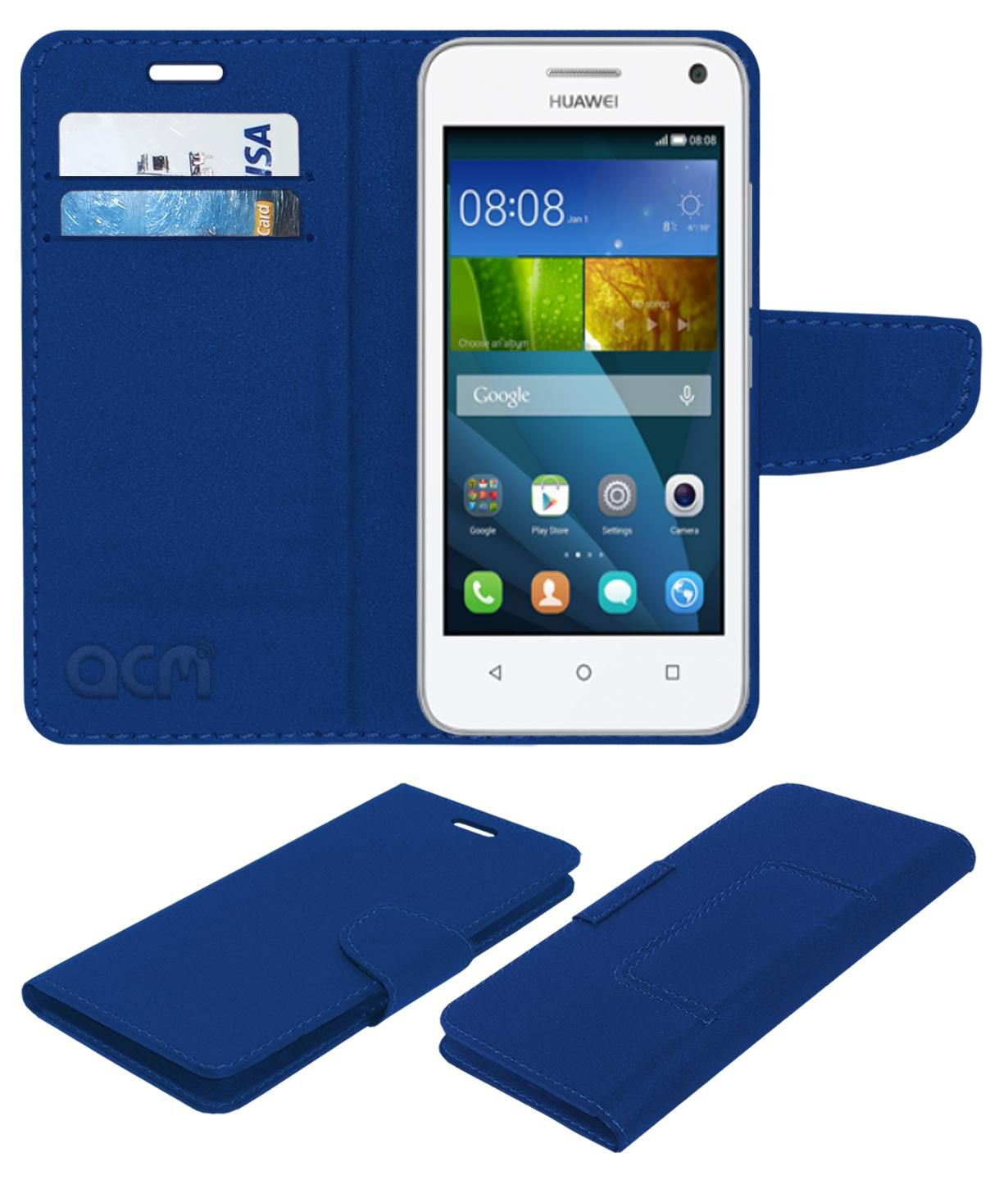 Huawei Ascend Y336 Flip Cover by ACM - Blue