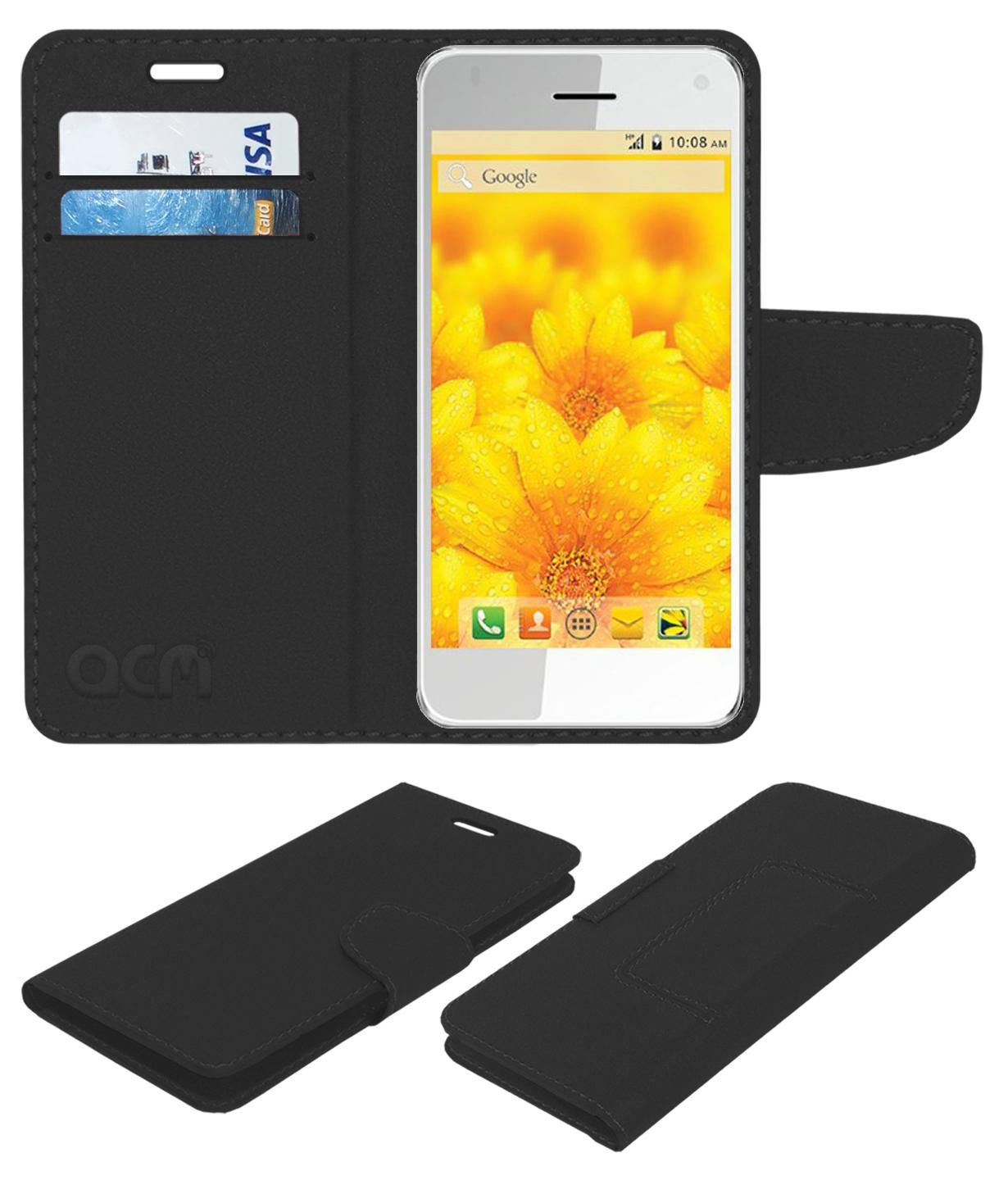 Intex Aqua Style Pro 4.13 Flip Cover by ACM - Black