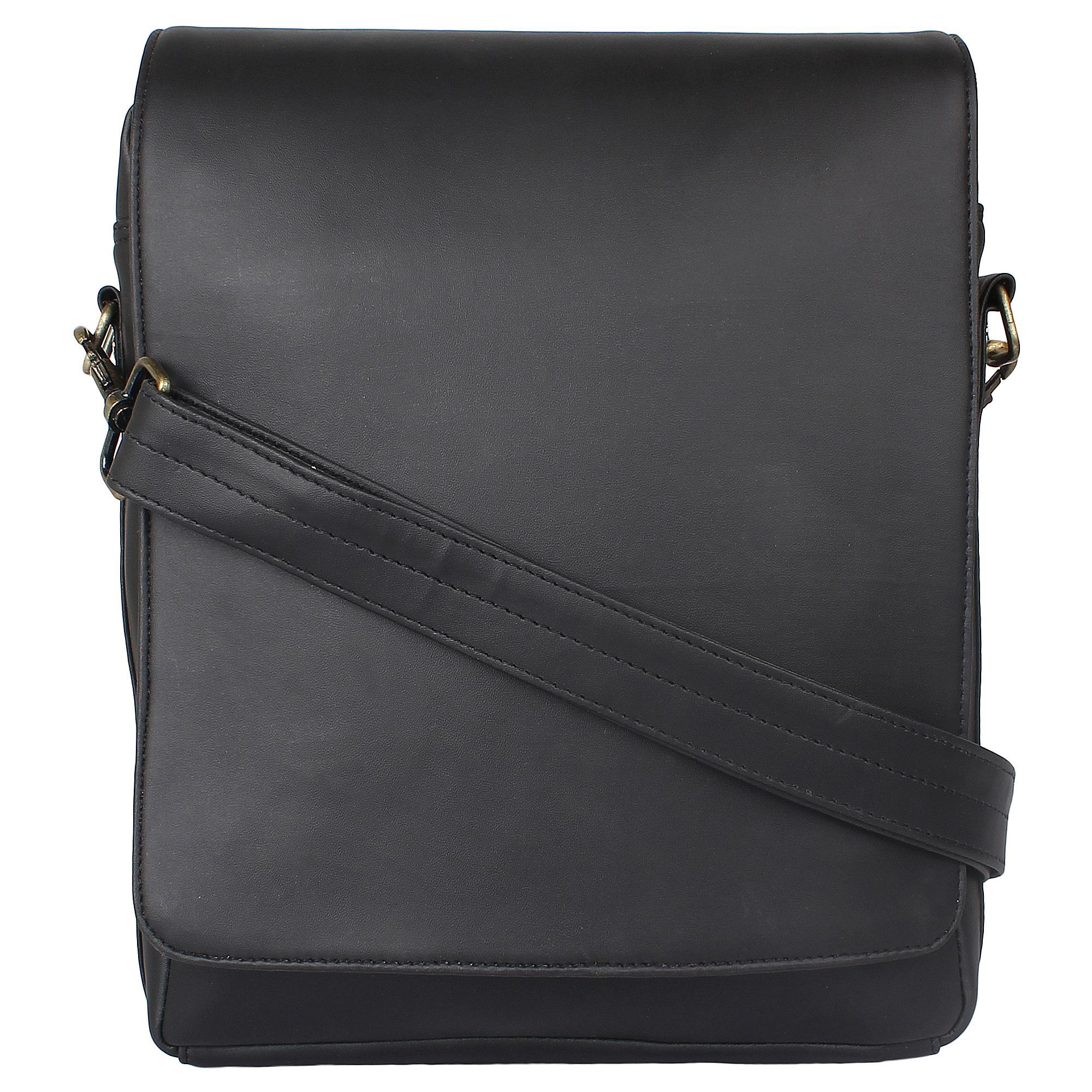 P&YFASHION Black P.U. Casual Messenger Bag