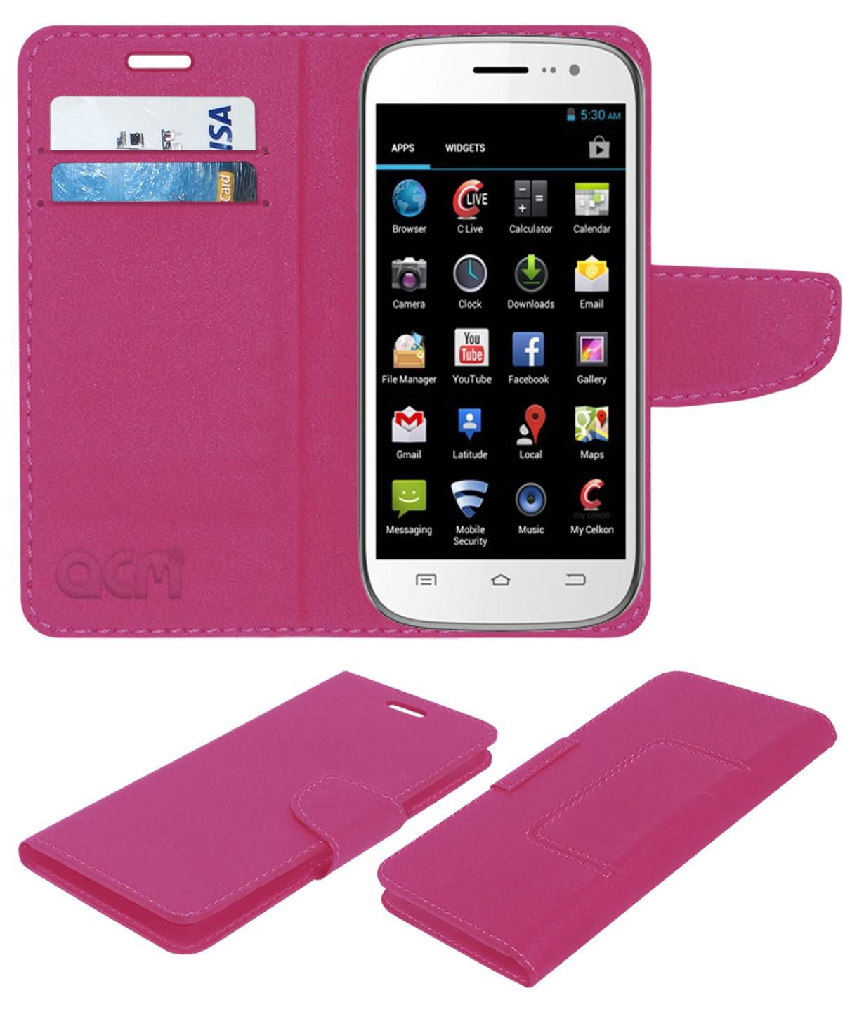 Celkon A64 Flip Cover by ACM - Pink