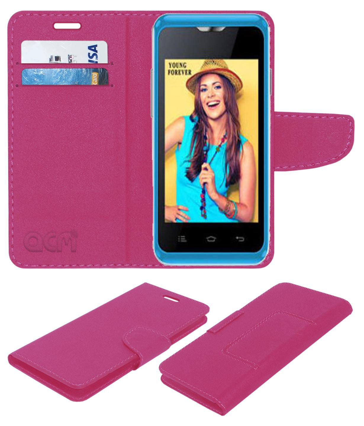 Celkon Campus A359 Flip Cover by ACM - Pink