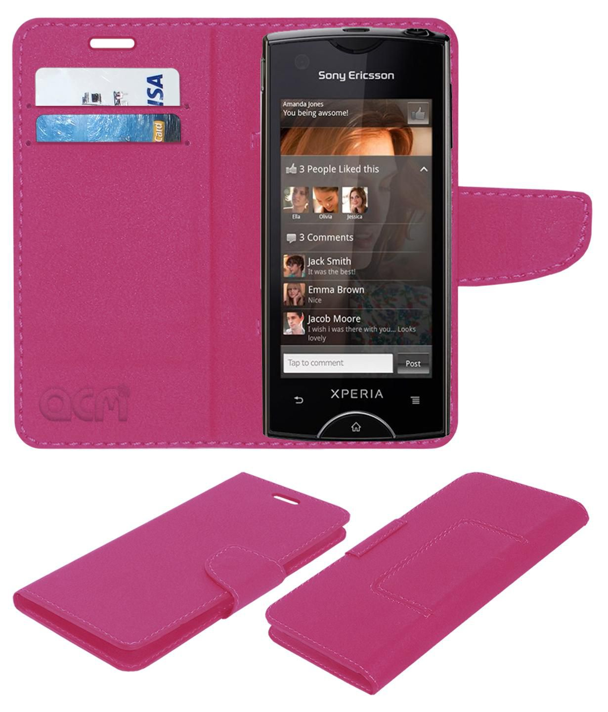 Sony Ericsson Xperia Ray St18i Flip Cover by ACM - Pink
