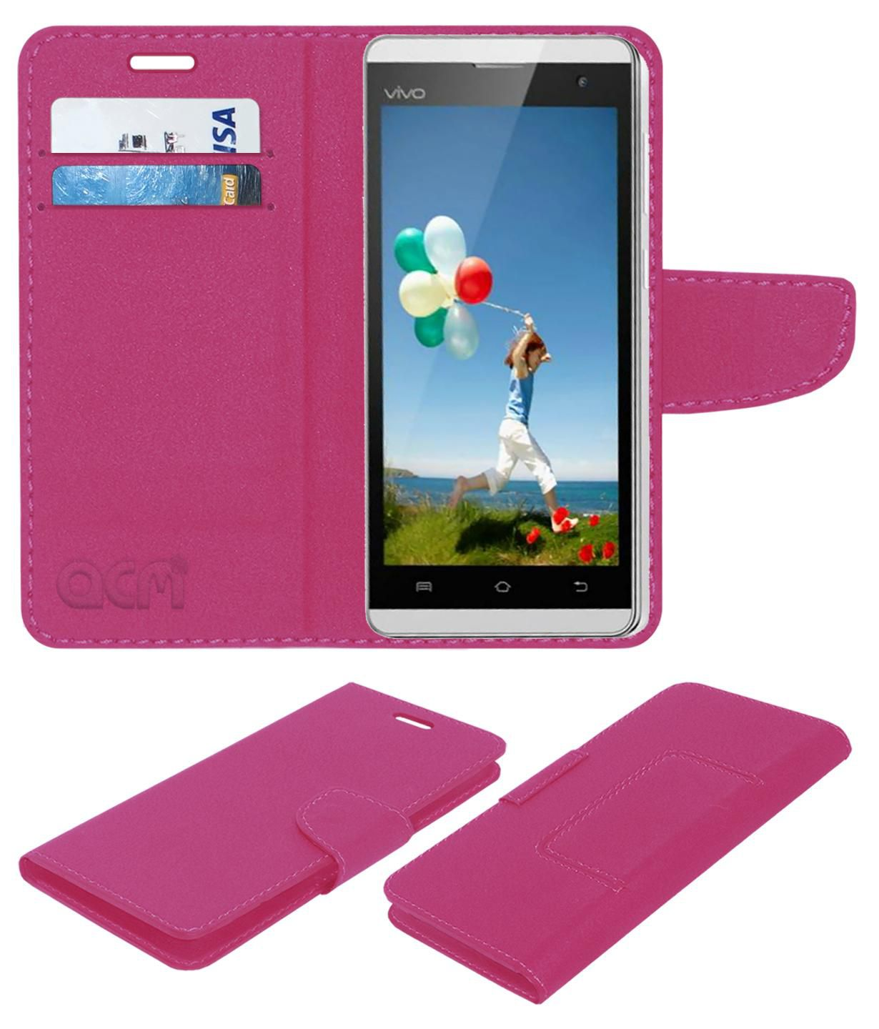 Vivo Y28 Flip Cover by ACM - Pink