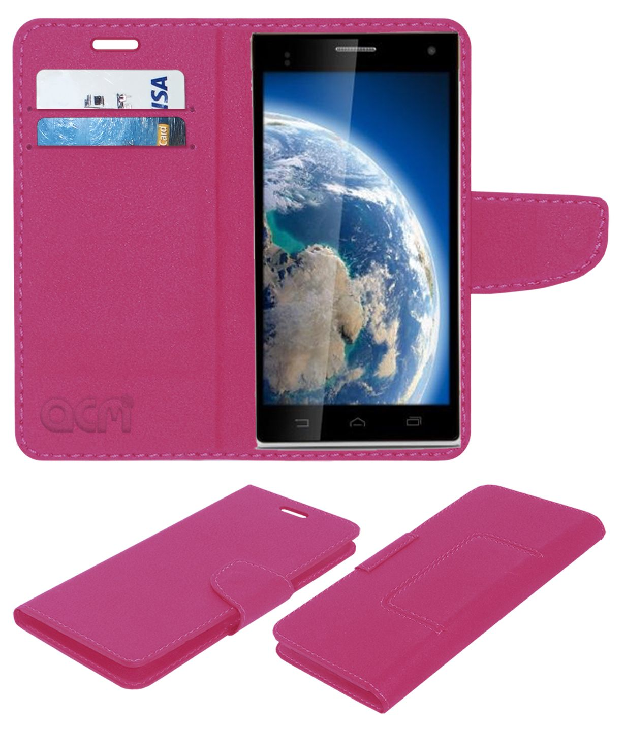 iBall Andi 5 Stallion Flip Cover by ACM - Pink