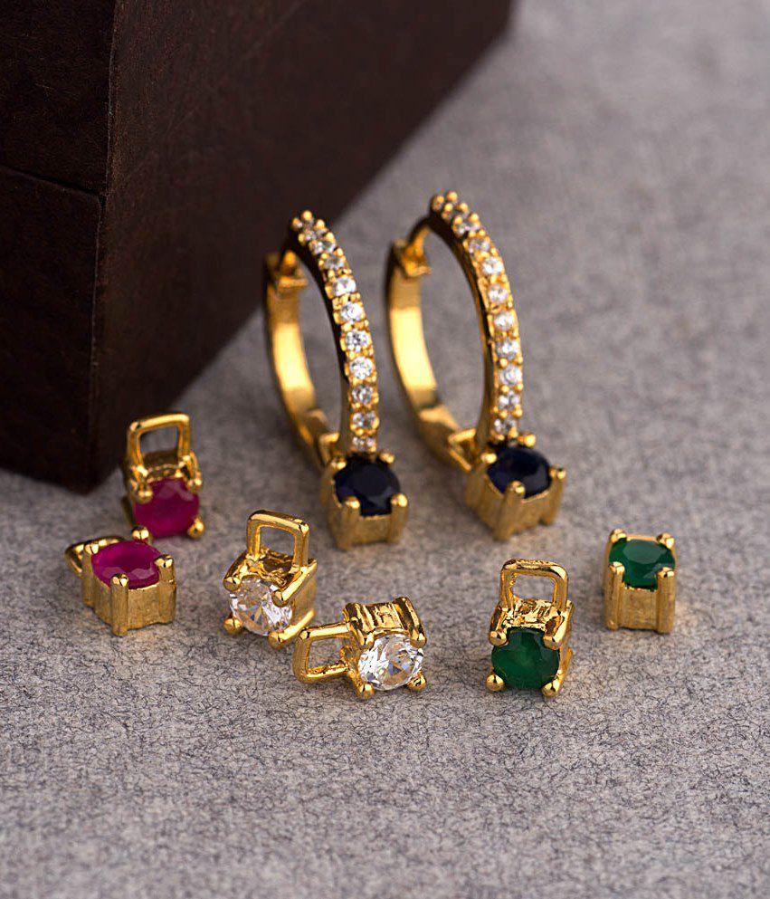 557dda6a8 Voylla Versatile Hoop Earrings With 4 Interchangeable Studs - Buy Voylla  Versatile Hoop Earrings With 4 Interchangeable Studs Online at Best Prices  in India ...
