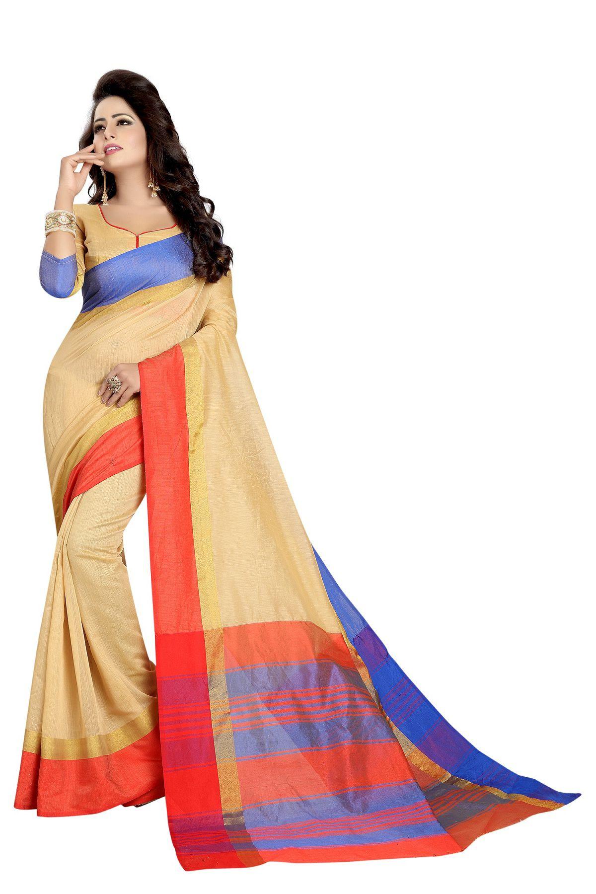 Manvaa Beige Cotton Silk Saree