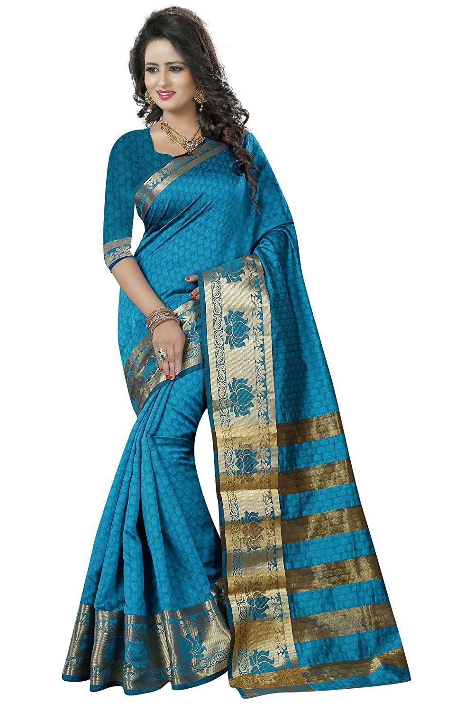Manvaa Blue Jacquard Saree