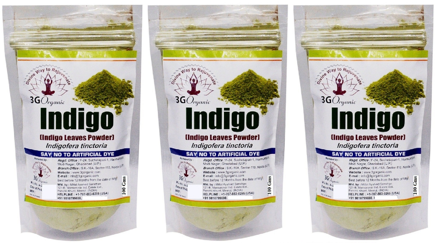 3G Organic Indigo Powder Organic Indigo Leaf Powder Organic Temporary Hair  Color Black Black 300 gm Pack of 3