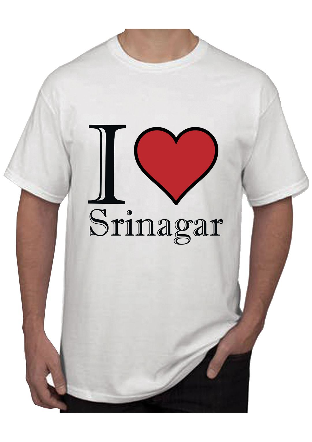 RITZEES White Dry Fit Polyester T-Shirt On I Love Srinagar