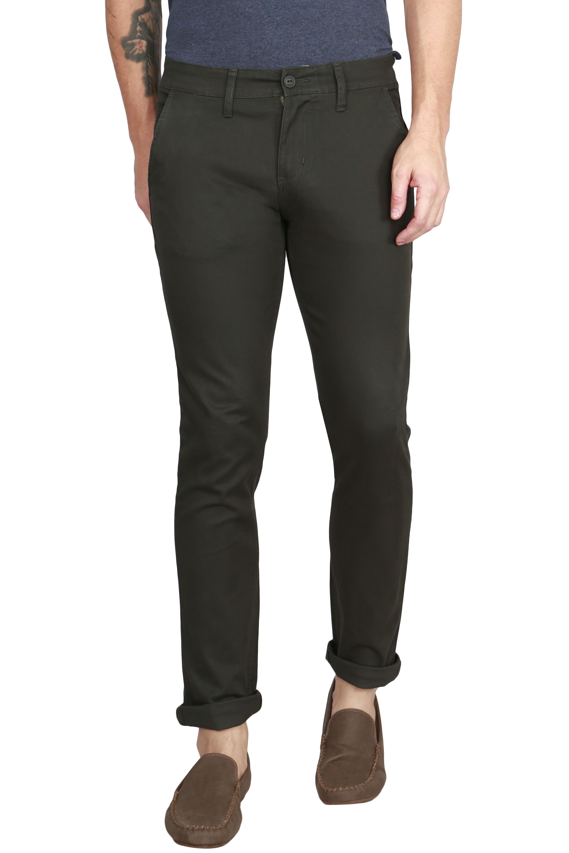 Raa Jeans Green Slim -Fit Flat Chinos