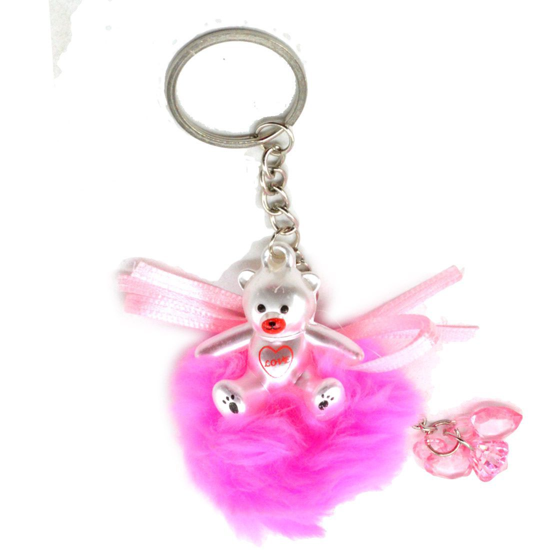 Faynci Love Red Cute Doll Key Chain with Red Twin Heart Shape for Fashion
