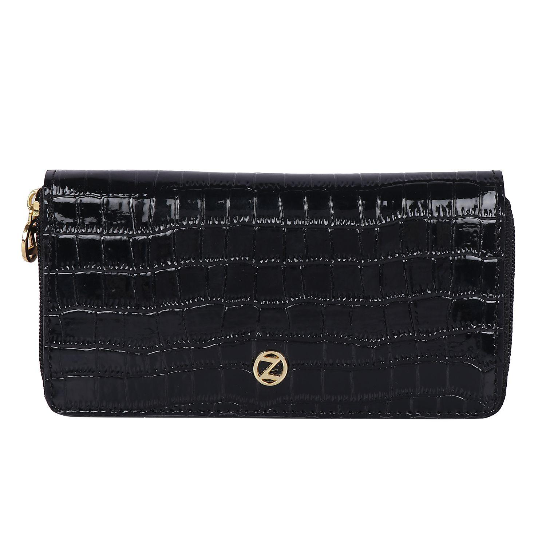 Osaiz Black Faux Leather Box Clutch