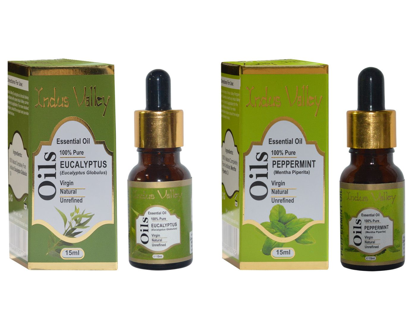 Indus Valley Peppermint And Eucalyptus Essentail Oil Combo For Face, Skin, Hair And Health Treatment- 30 ml
