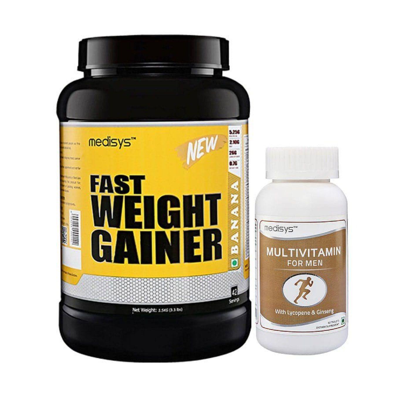 MEDISYS Fast Weight Gainer-Banana -Free Multivitamin 1.5 kg Weight Gainer Powder