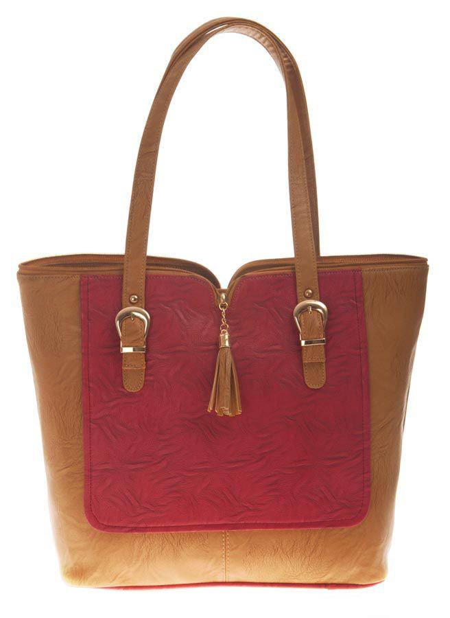 Aliado Beige Faux Leather Tote Bag