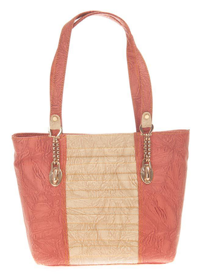 Aliado Pink Faux Leather Tote Bag