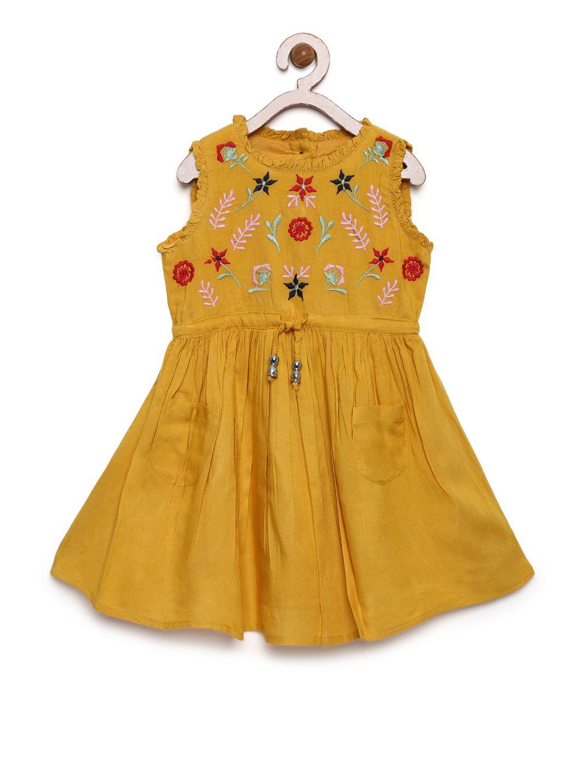 Bella Moda Girls Yellow Printed Fit  amp; Flare Dress
