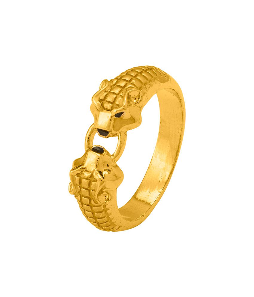 Dare By Voylla Gold Plated Lion Heads Finger Ring