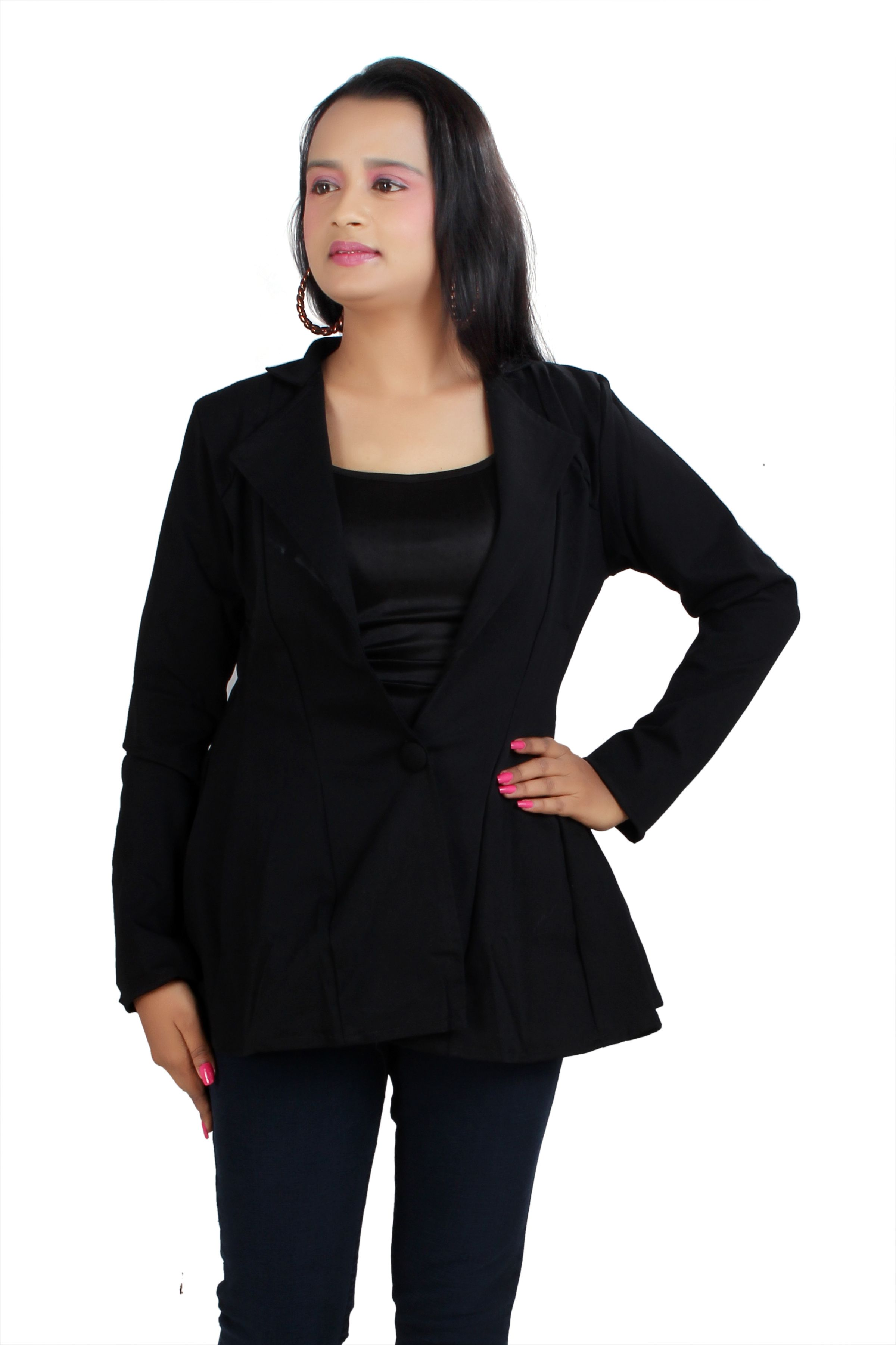 Aalishan creation solid Black colour V Neck Long Sleeve Knit Top OR Blazer for Casual And Stylish Girls OR Womens