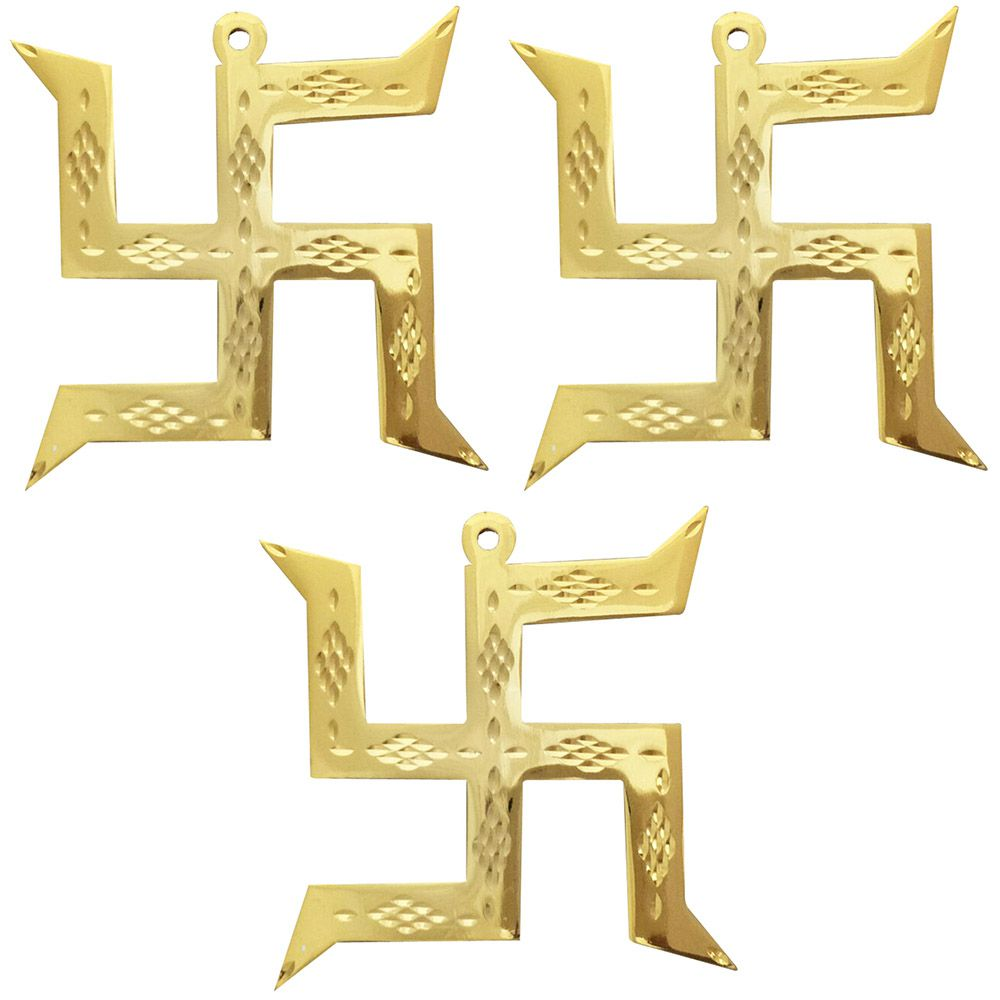 Divya Mantra Hindu Lucky Auspicious Symbol Swastika Pure Brass Wall