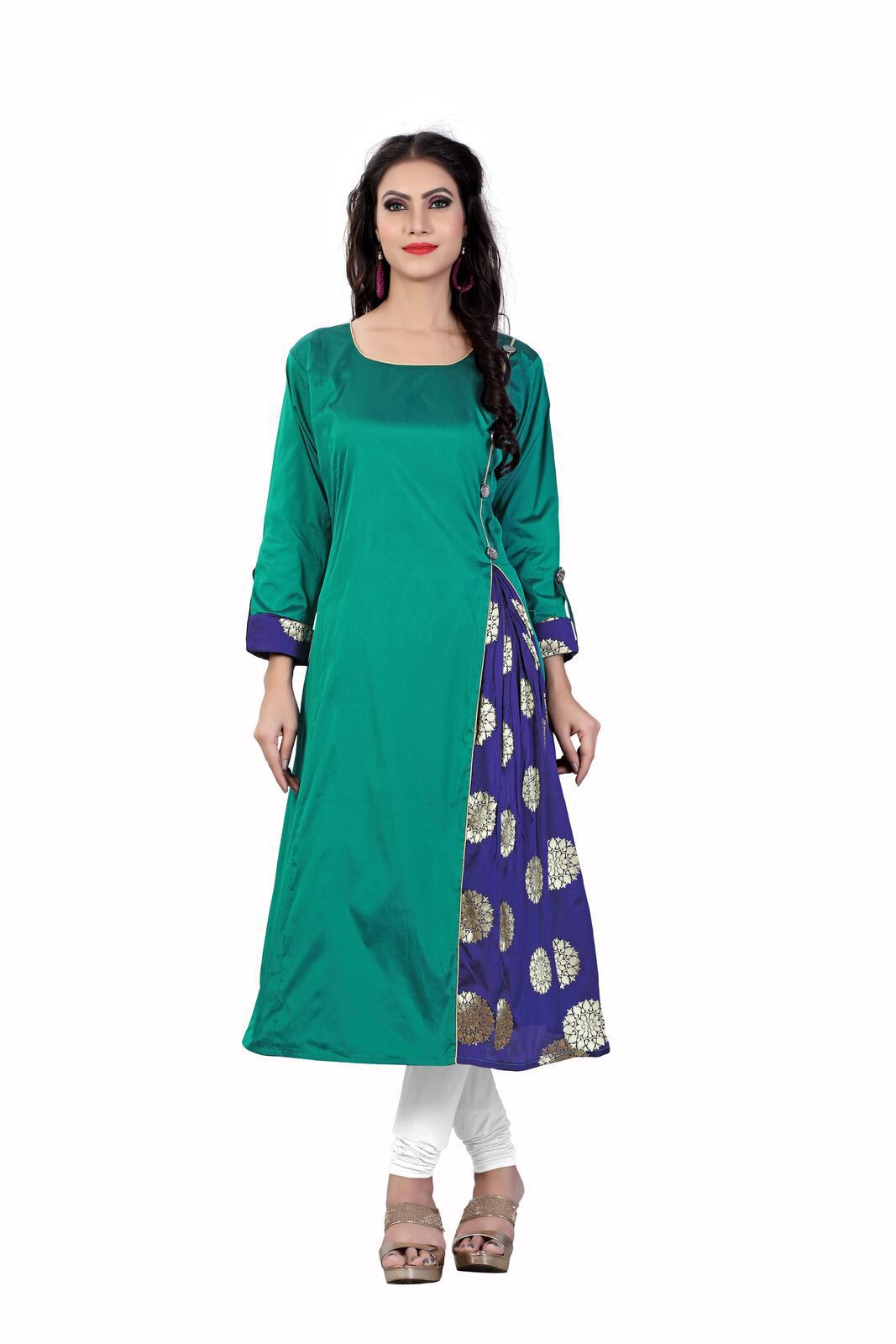 Daily Fashion Green Silk A-line Kurti