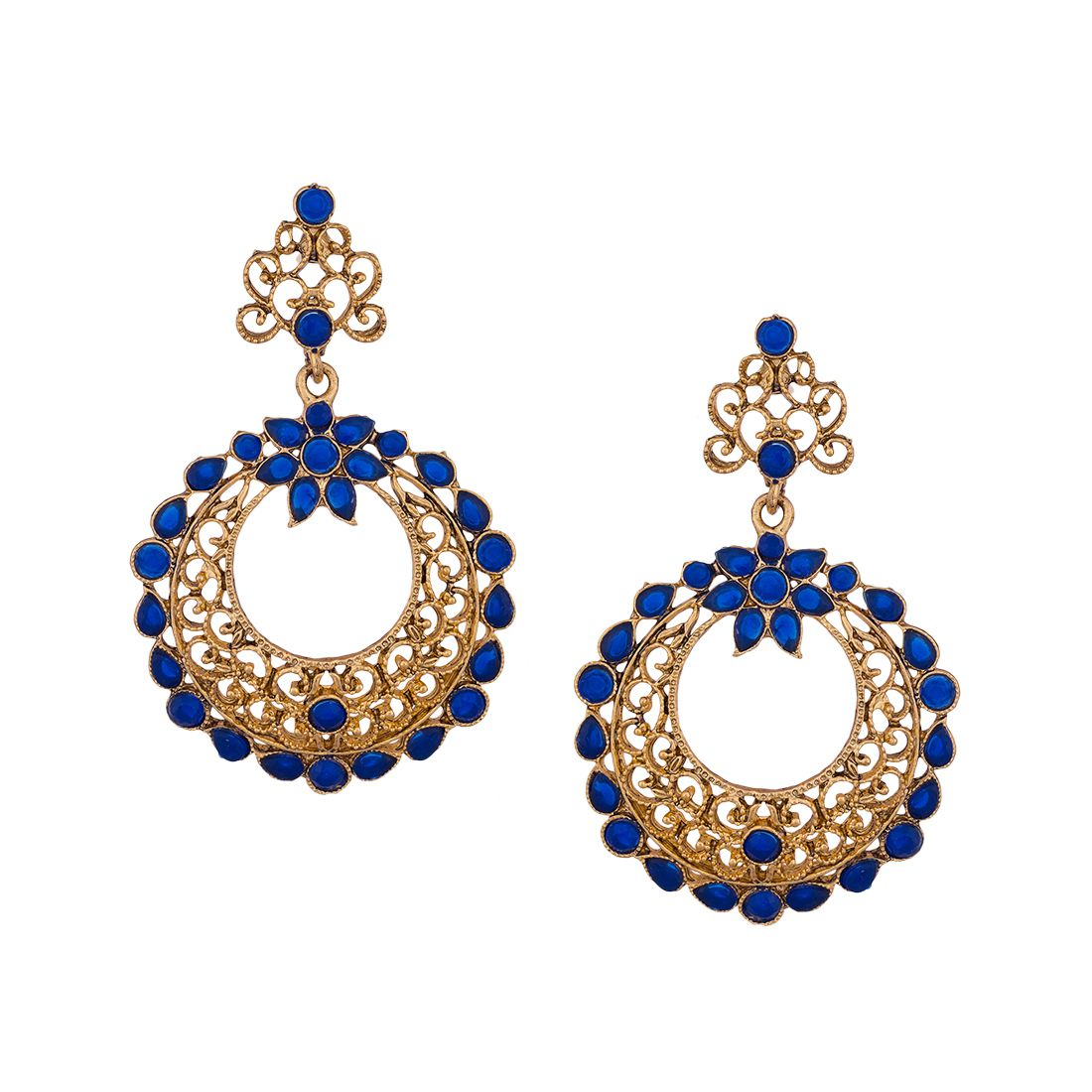 Jewelz Ethnic Gold Plated Hanging Earrings With Royal Blue Stones for Women