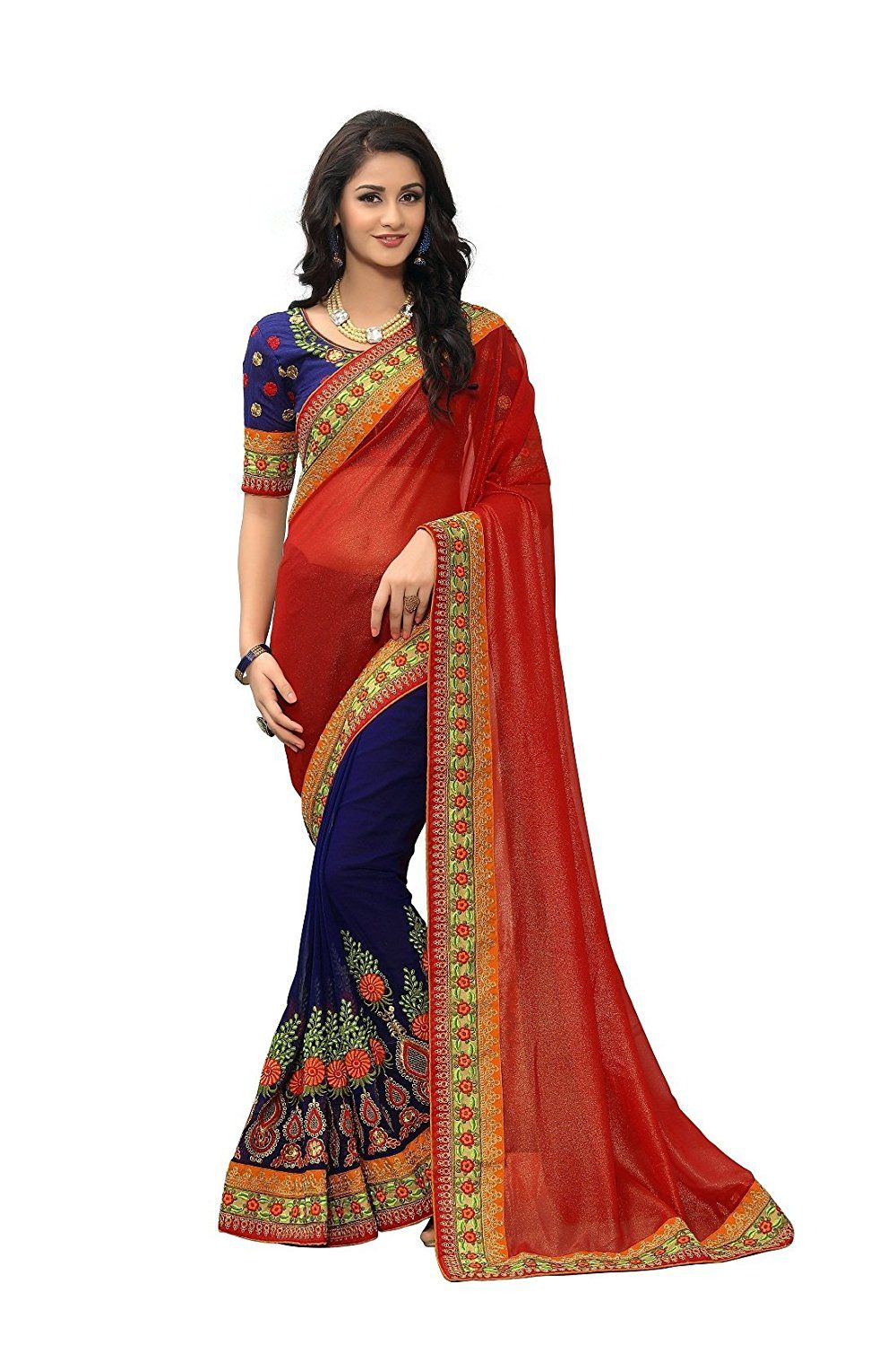 Nine Sister Multicoloured Georgette Saree