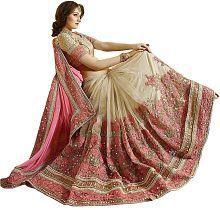 Freental Fashion Beige Chiffon Saree