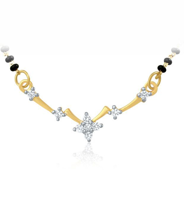 Mahi Gold Plated Mangalsutra Pendant with CZ for Women PS1191436G
