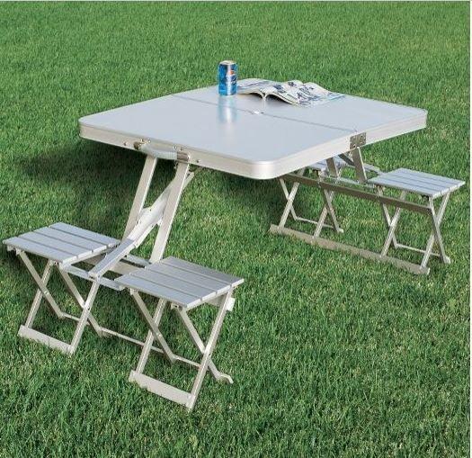 K Udos Enterrpise New Heavy Duty Aluminium Portable Folding Picnic Table Chairs Set With Umbrella