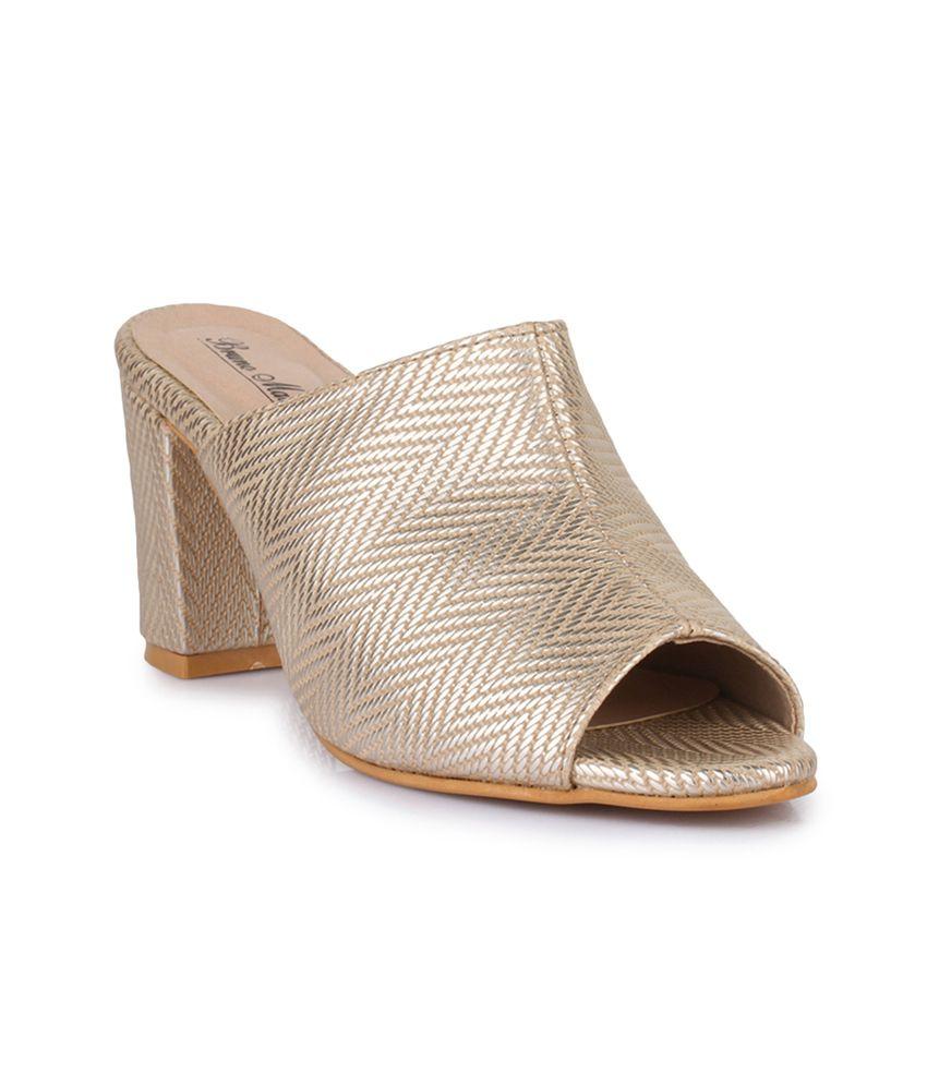 Bruno Manetti Gold Block Heels