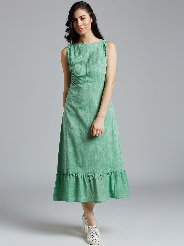 Jaipur Kurti Cotton Green Dresses