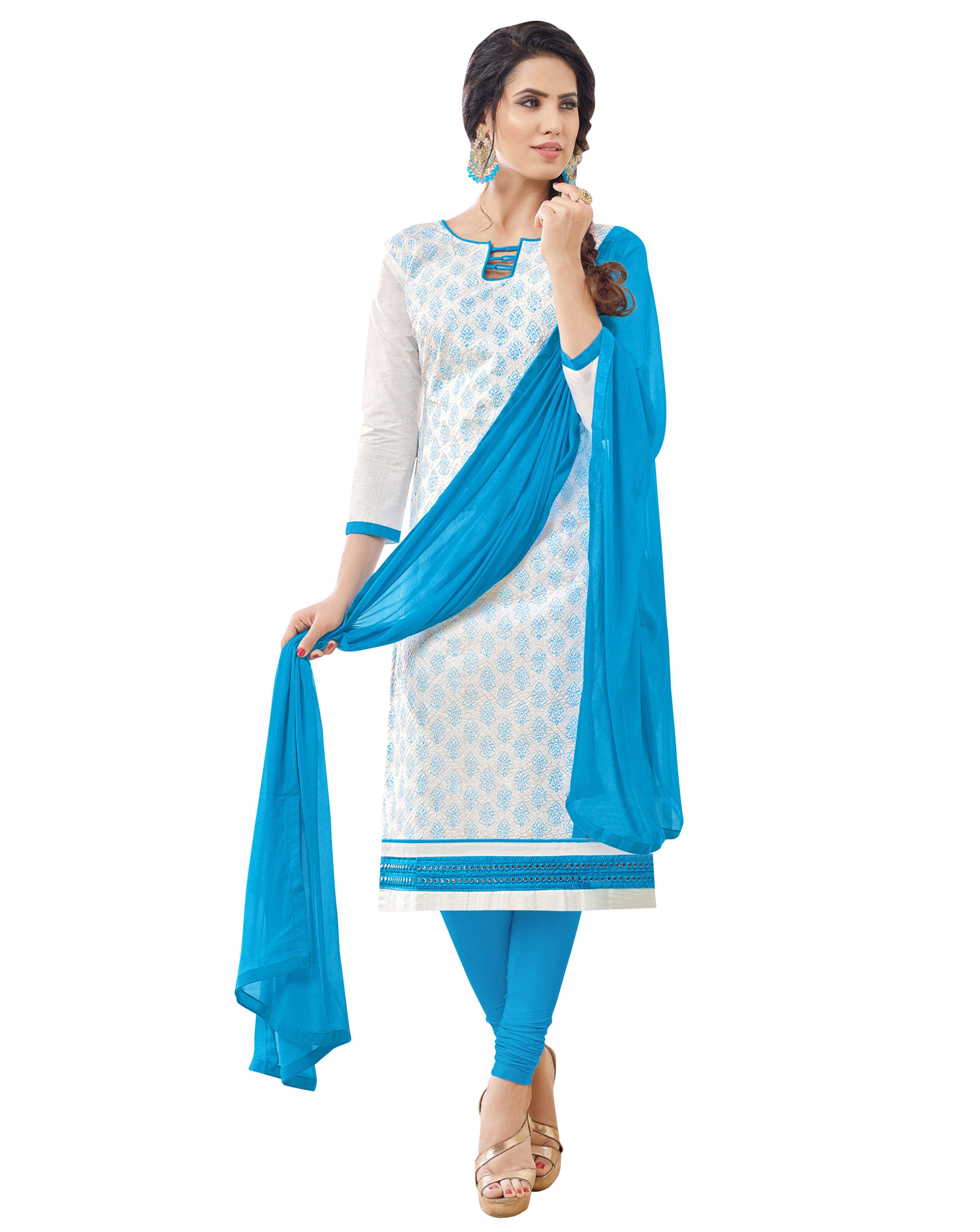 e0fa3fffbb Maroosh White and Blue Cotton Straight Semi-Stitched Suit - Buy Maroosh  White and Blue Cotton Straight Semi-Stitched Suit Online at Best Prices in  India on ...