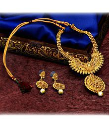 Asmitta Gorgeous Designer Gold Plated Matinee Style LCT Stone Necklace Set For Women