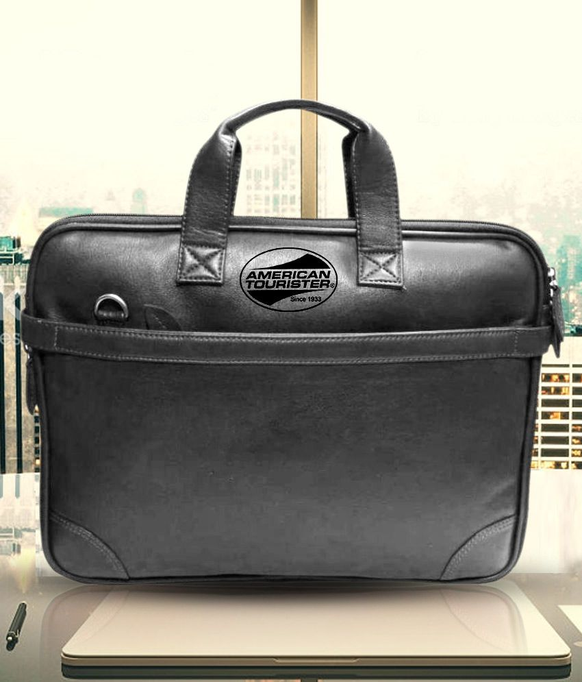 American Tourister Pu Leather Black Office Laptop Bag 15 Inch
