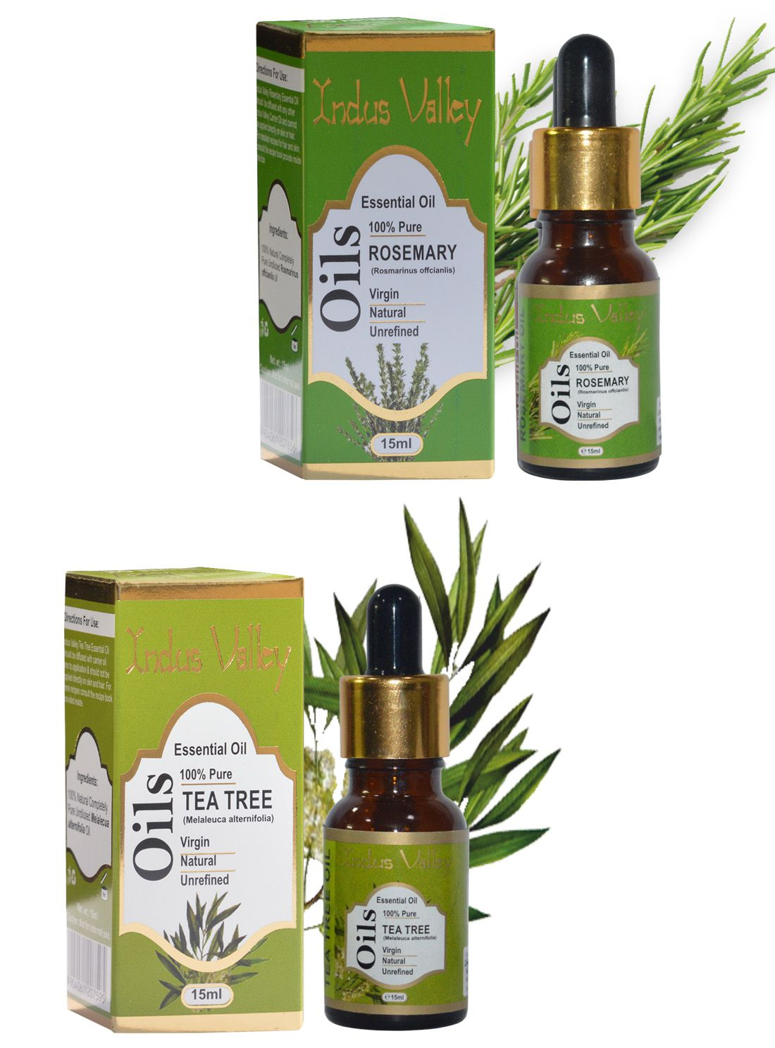 Indus Valley Essential Oil Combo Pack For Dandruff ( Tea Tree & Rosemary) 30 mL Pack of 2