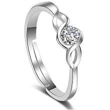 Om Jewells Rhodium Plated Adjustable Curvy CZ Solitaire Finger Rings Crafted\nfor Girls and Women FR1000914WHT