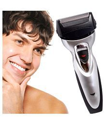 SJ Rechargeable Cordless Double Bladed Hair Shaver with Trimmer Clipper for Men Foil Shaver ( Black & Silver )
