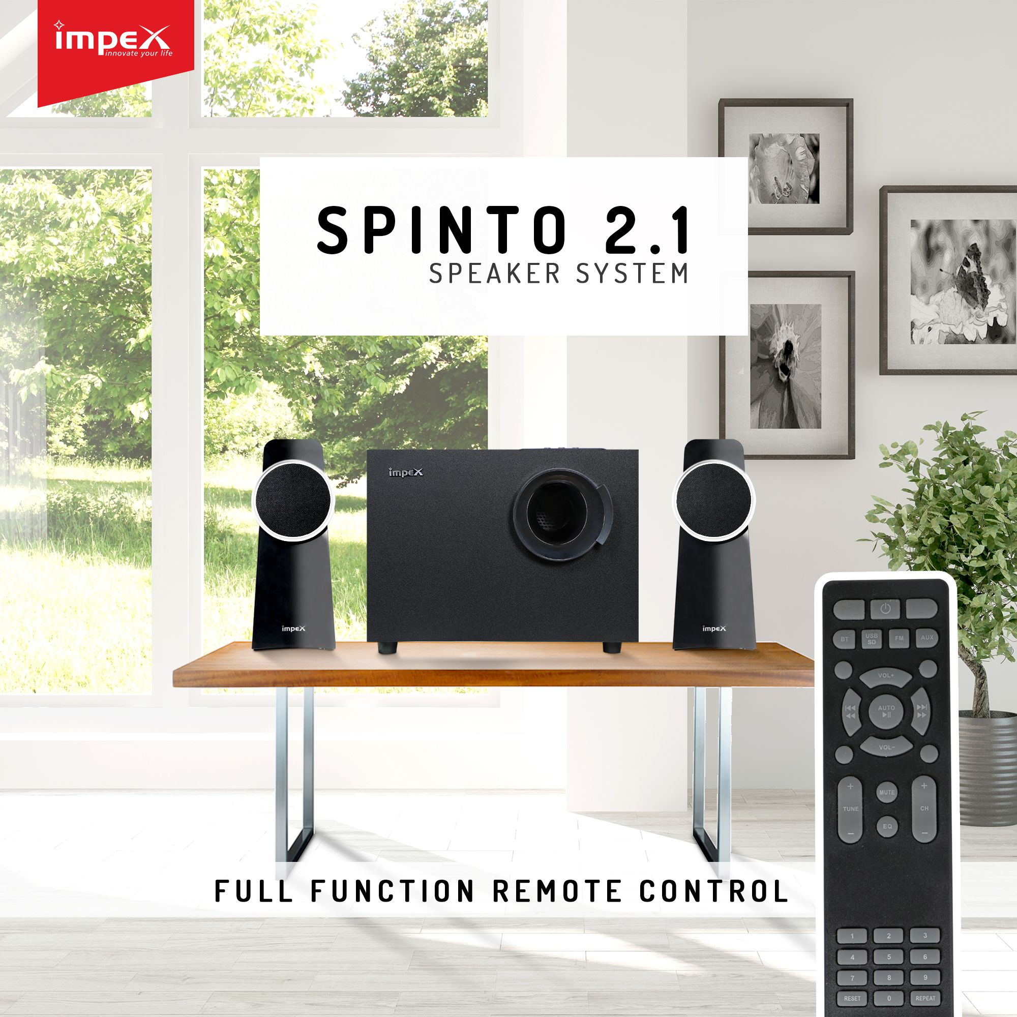 Buy Impex SPINTO 2 1 Bluetooth Speakers Black line at Best