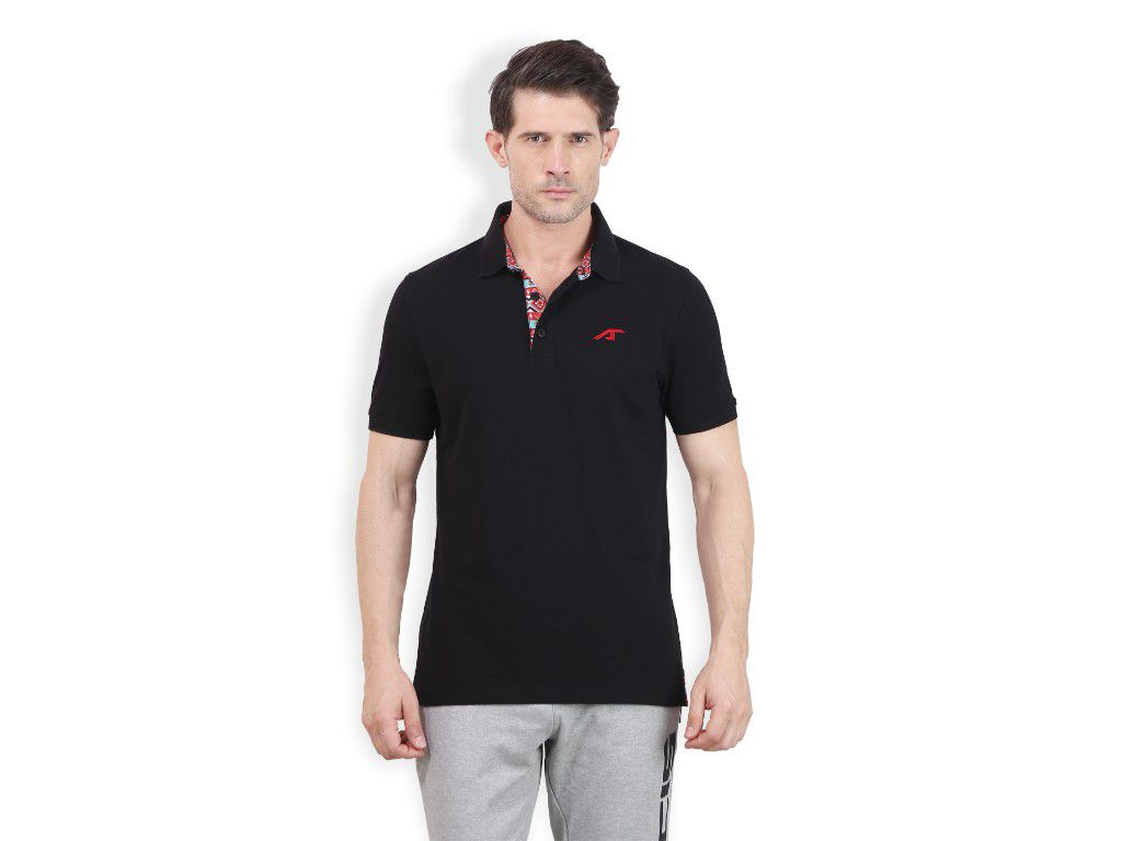 Alcis Mens Black Solid Polo Tshirt