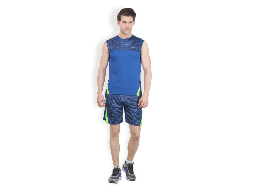 Alcis Mens Blue Printed Sleeveless Tshirt